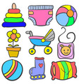 set of baby element set various doodles vector image