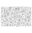 Coffee time doodles hand drawn symbols vector image