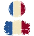 French round and square grunge flags vector image