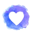 Blue watercolor painted heart shape frame vector image vector image