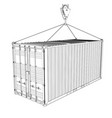 cargo container hanging on hook of crane vector image