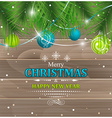 Christmas greeting Pine-needles baubles and vector image