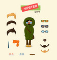 hipster guys fashion set vector image