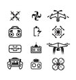 isolated linear Drone icons set of quadrocopter vector image