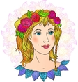 Pretty girl hand-drawn face in flowers vector image
