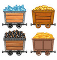 mining objects on wooden wagon vector image vector image