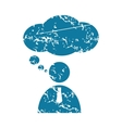 Thinking person grunge icon vector image