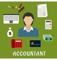Accountant profession and objects flat icons vector image vector image