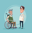 color background with elderly man in wheelchair vector image