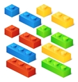 Construction toy cubes Connector bricks 3D vector image