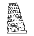 Leaning tower of Pisa icon outline style vector image