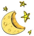 Moon and stars weather icon vector image