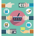Payments and sales Flat concept of business vector image