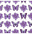 seamless pattern with lavender flowersbutterflies vector image