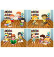 Students reading book in room vector image vector image
