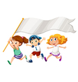 Three kids running with an empty banner vector image vector image