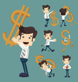 Set of businessman with dollar sign characters pos vector image