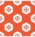 Orange hexagon maltese cross pattern vector image
