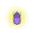 Scarab icon in comics style vector image