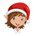Christmas elf head vector image