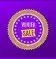 holiday banner of winter sale purple golden vector image
