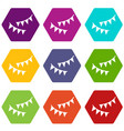 holiday flags icon set color hexahedron vector image