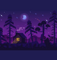 hunting lodge in the night forest vector image
