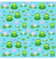 Little green frogs in cartoon style vector image