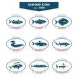 Seafood icons Fish icons vector image
