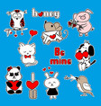 sticker about love blue background vector image