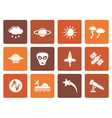 Flat Astronautics and Space and universe Icons vector image