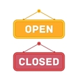 Open and Closed door signs board vector image vector image
