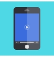 smartphone with player on blue background vector image