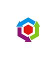 circle arrow cube recycle logo vector image