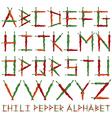 chili pepper alphabet vector image vector image