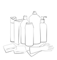 Outline of Cleaning set vector image