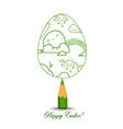 Green Pencil with Reflection Drawing Easter Egg on vector image