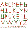 chili pepper alphabet vector image
