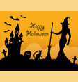 halloween card with holiday symbols vector image