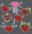 set of different stickers valentines hearts vector image