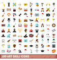 100 art skill icons set flat style vector image