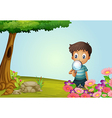 Boy with a magnifying glass vector image vector image