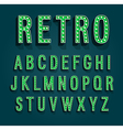 Retro font with light bulbs vector image