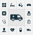 antibiotic icons set collection of pills beating vector image