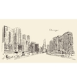 Chicago Big City Architecture Engraving vector image