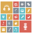 Flat design icons for music and sound vector image
