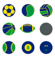 Collection of sport ball icon Brazil color concept vector image