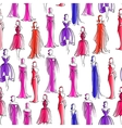 Seamless pattern with women in evening dresses vector image vector image