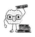 brain cartoon with glasses and learning books in vector image