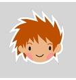 Cartoon boy head flat sticker icon vector image